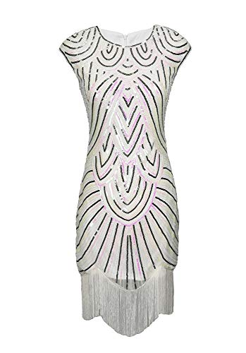 Sequin 20s 20's 1920s Themed Art Deco Flapper Party Costume & Fancy Dress Outfit White -