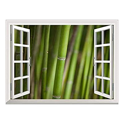 Modern White Window Looking Out Into a Bamboo Forest III - Wall Mural, Removable Sticker, Home Decor - 24x32 inches