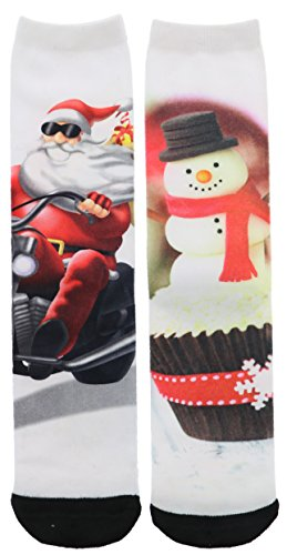 Ladeda Women's Colorful Christmas Crew Socks (2Pr) (Snowman Cupcake & Santa Motorcycle)
