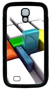 3D Color Box Custom Designer Samsung Galaxy S4 Case and Cover - TPU - Black