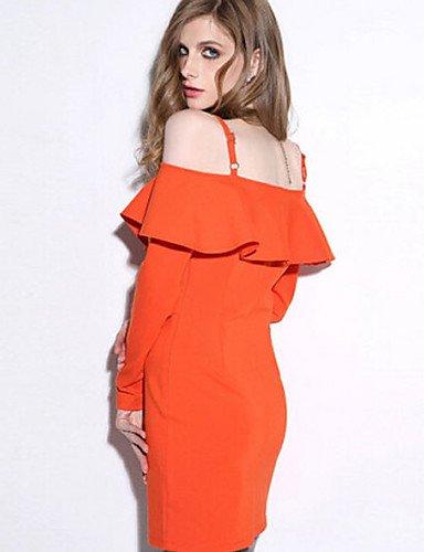 PU&PU Robe Aux femmes Moulante Sexy / Street Chic,Couleur Pleine Col en V Mini Coton , orange-m , orange-m