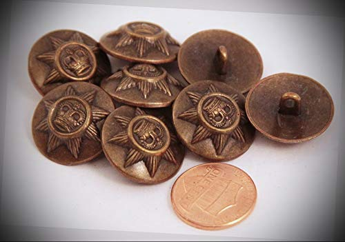Domed Star - JumpingLight 8 Antiqued Brass Tone Domed Metal Buttons Star Crown 13/16'' 20MM 6050 Perfect for Crafts, Scrap-Booking, Jewelry, Projects, Quilts