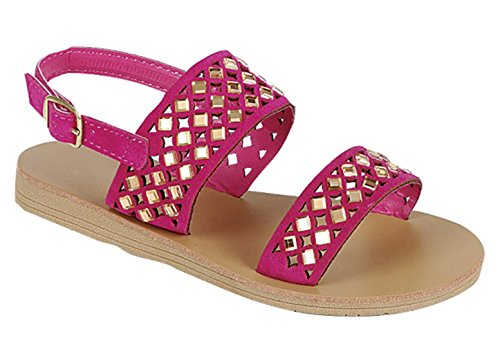 Clearance Sale Unique Kali Pink Embellished Side Buckle Sandal Slipon Strapped Ver Zapatos Sandalia de Mujer Glitter Summer Fashion Dorados Flat Confy Casual Shoe for Little Girl Kid (Size 3, Pink) (Sandal Side Buckle)