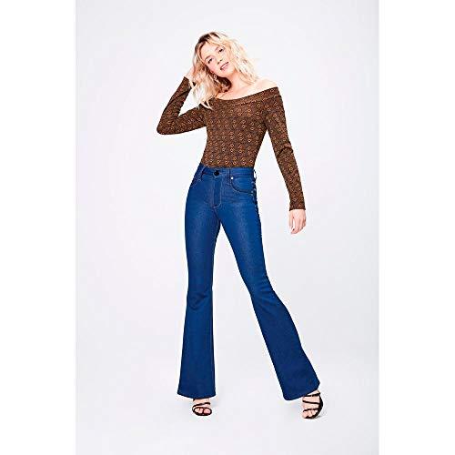 Calça Jeans Boot Cut De Cintura Alta Tam: 38 / Cor: Blue
