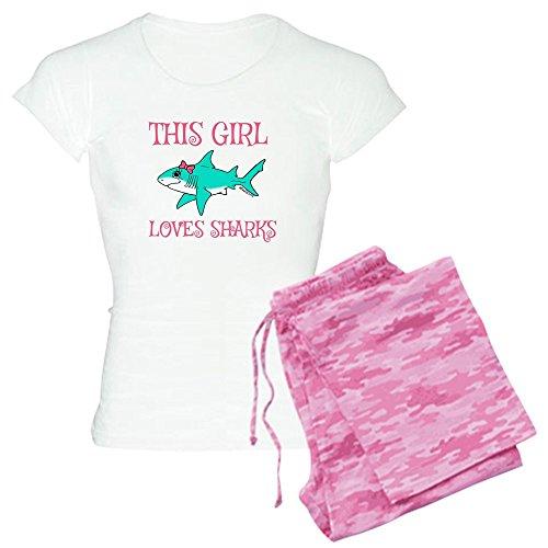 CafePress Shark Girl Pajamas - Womens Novelty Cotton Pajama Set, Comfortable PJ Sleepwear (Shark Footed Pajamas Adult)
