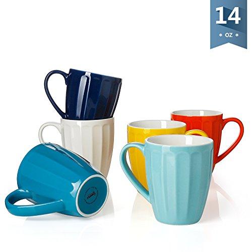 Sweese 6209 Porcelain Mugs - 14 Ounce for Coffee, Tea, Cocoa, Set of 6, Fluted mugs, Hot Assorted (Ceramic Tea Coffee Mug)