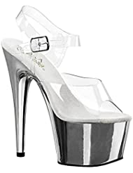 Summitfashions Womens Sexy Shoes Stiletto Heels Platform Slide Clear Ankle Strap 6 1/2 Inch