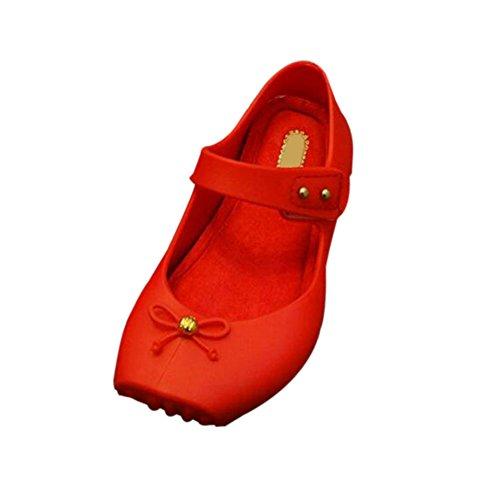 Hzjundasi Infante Niña Bebés Linda Suave Jalea Bowknot Ballet Antideslizante Casuales Zapatos Niñito Niños Playa Sandalias Lluvia Botas Rojo