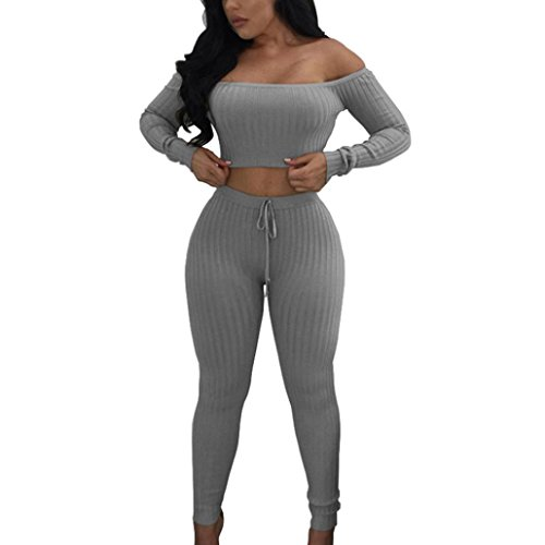 Han Shi Bodycon Set, Women Fashion Casual Slash Neck Outfit Sportswear Cotton Blouse (S=(US XS), Gray)