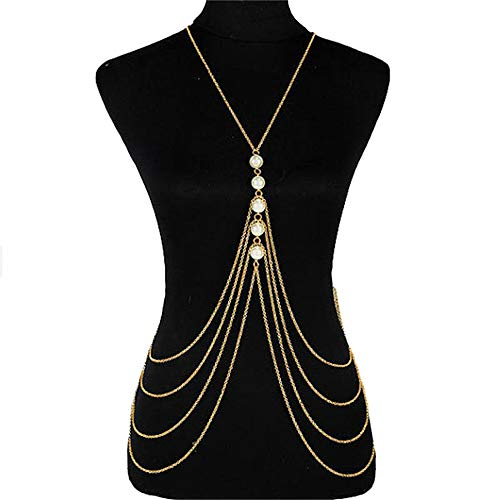 Body Chain Layered Sexy Gold Tassels Pearl Necklace Fashion Jewelry Belly Waist Bra Hot Bikini Beach Harness Birthday Anniversary Festival Gift for Women Lady Girls