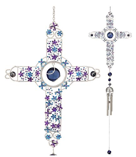 Ebros Amazing Grace Floral Cross with Gemstones Resonant Relaxing Wind Chime 40
