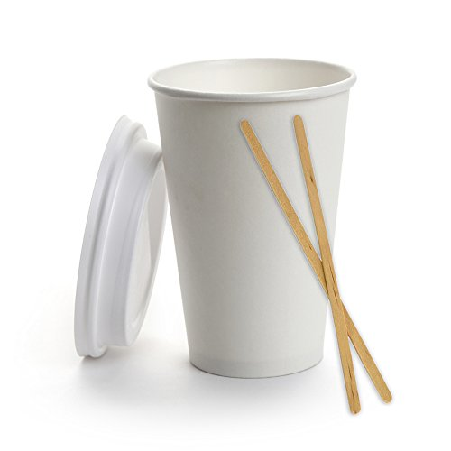 White Poly Paper Hot 16 oz cup (set of 50) with 50 cappuccino lids and 50 wrapped 71/2 in stirrer