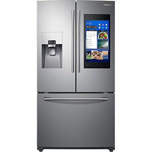 Stainless steel smart fridge with full screen-style control panel. Freezer on bottom.