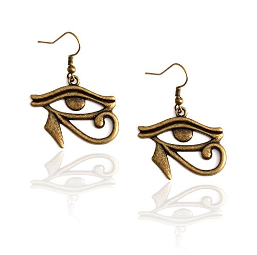 Joji Boutique Egyptian Collection: Antiqued Gold Eye of Horus Drop Earrings]()