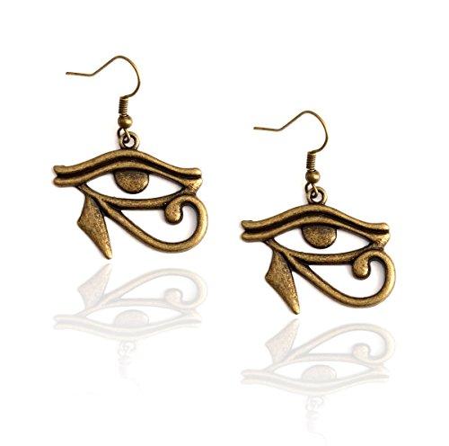 Peregrine Falcon Costume (Antiqued Gold Eye of Horus Egyptian Drop Earrings)