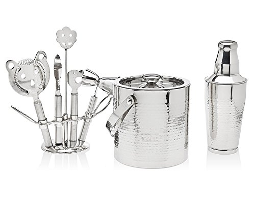 Godinger Silver Art 8 Piece Hammered Stainless Steel Cocktail Bar Set - 1 Shaker, 1 Ice Bucket And 5 Tools on Stand