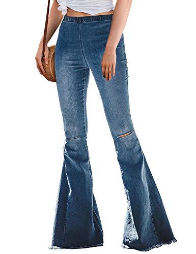 - LookbookStore Womens Ripped Bell Bottom Raw Hem Denim Pants Wide Leg Flare Jeans Blue Size Large