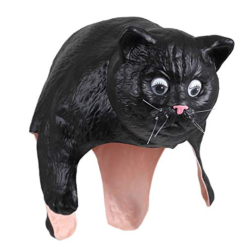 Ogawa studio Cat Head Gear | Playing with a Cat, Party, Birthday, Halloween Costume Mask (Black Cat) -