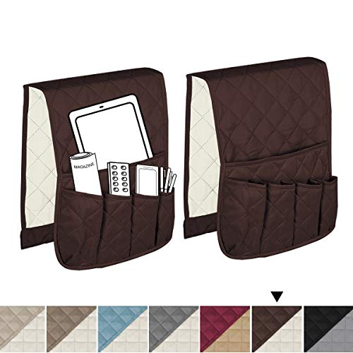 """H.VERSAILTEX Non-Slip Couch Sofa Chair Armrest Organizer with 5 Pockets for Phone Book Magazines TV Remote Control, 2 Packs (Brown/Beige) - 13"""" x 35"""""""