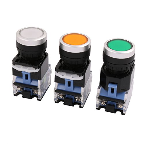 Aexit 3Pcs Ui Control electrical 440V Ith 10A Momentary DPDT 1NO 1NC Push Button ()