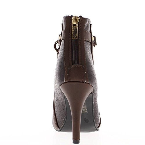 Marrone 9cm catena bi materiale tacco donna stivali