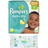 Pampers Baby Dry Size 5 Disposable Diapers - 24 Count (3 Layers of Protection) + Sensitive Wipes Travel Pack 18 ct