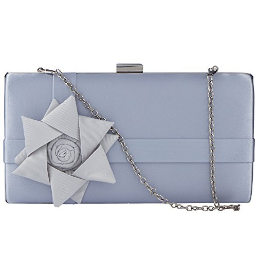 Flowers Bagood Bag Ladies Clutch Handbag Baguette Evening Women's Party Silver 3D rEW8qnrz