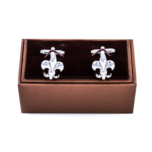 (MRCUFF Fleur De Lis Classic Pair Cufflinks in a Presentation Gift Box & Polishing Cloth)