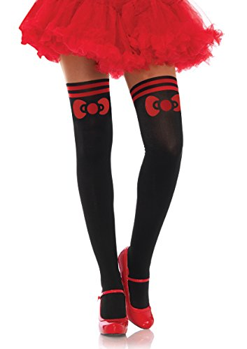 Hello Kitty Costume Bow Spandex Opaque Pantyhose Socks Stockings with Sheer Thigh Accent - One Size -