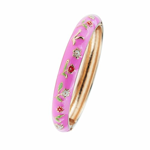 Snake Gold Chinese White (UJOY Childrens Bracelet Bangles Girls Jewelry Cloisonne Enamel Animals Flowers Bracelets Gift with Box 55D25 pink)
