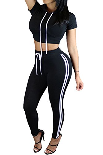 Pink Queen Women Black White Stripe High Waist Pants 2 Piece Jogging Set, XL,Black
