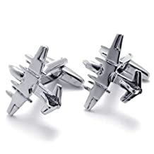 Fancy Jewelry 2pcs Rhodium Plated Classic Personalized Fighter Plane Shirts Men's Cufflinks, Color Silver, 1 Pair Set