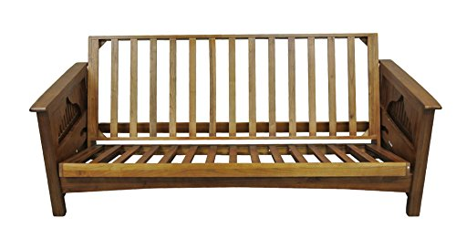 Gold Bond AOSUC + BOQC Burlington Cherry Oak Futon Frame, Queen, Brown