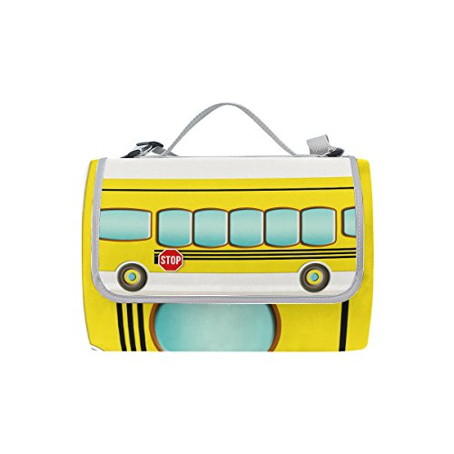 (ZOEO Plastic Picnic Blanket Yellow School Student Bus Picnic Rug Handy Mat Tote Strap Waterproof Sandproof 3 Layer for Family Beach Outdoor Camping and Travel)