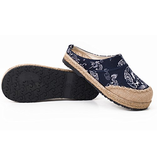 Navy fereshte Blue Sandals Mule Toe Unisex Slide Round Shoes Slipper Espadrilles Linen 1Zqvw1rx