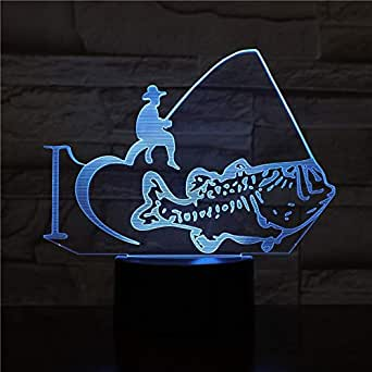 3D Fishing Sport Lamp Visual Bedroom Decorative Battery Operated Led Night Light Lamp Nice Baby Colorful withA