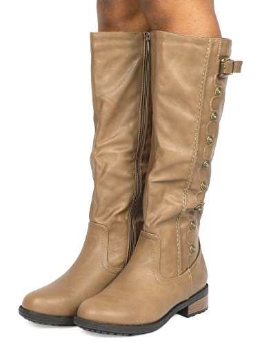 calf Zipper Accent Boots Low Knee wide Wide Quilted Toe UTAH Buckles Available Riding khaki Women's Army DREAM Heel Calf Double PAIRS Stacked High Round nIa6qwv0gx