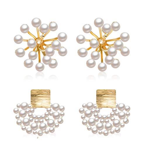2 Pair Pearl Cluster Earrings, Geometric Freshwater Cultured Pearl Cluster Earrings Hollow Fan Shaped Pearl Earring Fashion Wedding Bride Stud Jewelry for Women Girls