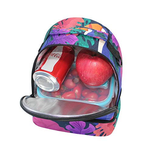 tucán térmica diseño el pincnic de pájaros la escuela Alinlo Bolsa con de correa de para ajustable almuerzo para qSznF5X5w