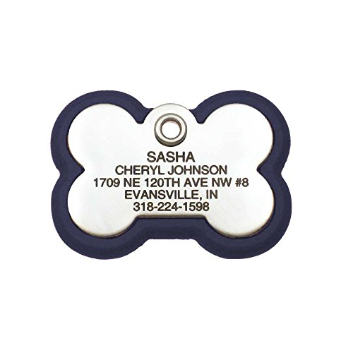LuckyPet Pet ID Tag, Bone Frame Tag, Rugged Dog Tags with Colorful Frame, Custom Engraved, Medium, Navy Blue & Stainless