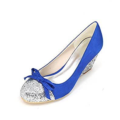 L@YC Women's Heels Spring Summer Fall Winter Comfort Novelty Silk slope with Wedding Party & Evening Stiletto , blue , 36