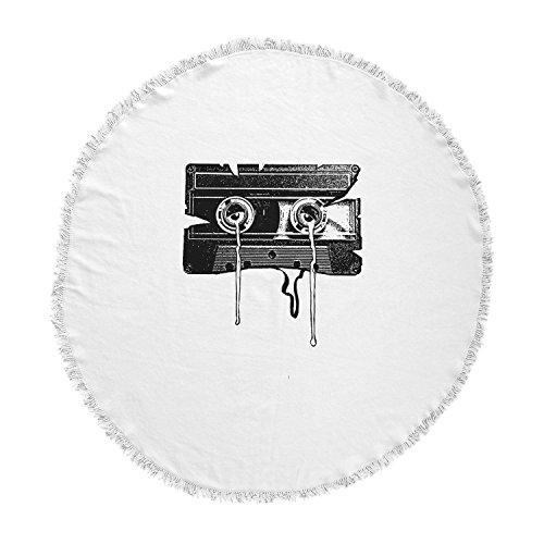 kess inhouse BarmalisiRTB Cassette recuerdos negro blanco redondo toalla de playa manta