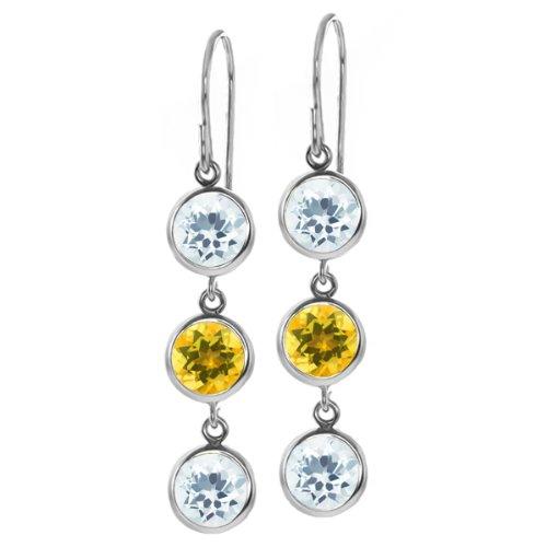 Gem Stone King 2.70 Ct Round Sky Blue Aquamarine Yellow Citrine 925 Sterling Silver Three Stone Dangle Earrings ()