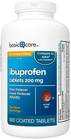 Basic Care Ibuprofen Tablets, 500 Count