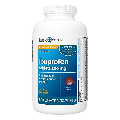 Basic Care Ibuprofen Tablets 200 mg, Pain Reliever/Fever Reducer (NSAID), 500 Count (Best Otc Pain Reliever For Toothache)
