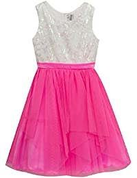 Little Girls Cascading Tulle and Sequin Lace Bodice Dress, Bright Pink/Ivory