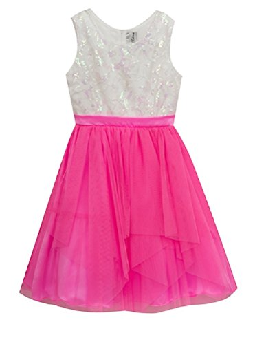 Rare Editions Little Girls Cascading Tulle and Sequin Bodice Dress, Bright Pink/Ivory (4)