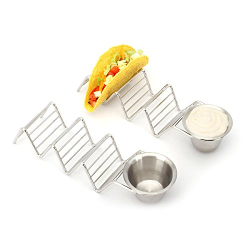 2 Lb. Depot Taco Shell Holder, Stainless Steel Taco Rack Hard Soft Taco's, 2 Pack (Holds 3 Tacos with Cup) by 2 Lb. Depot (Image #3)