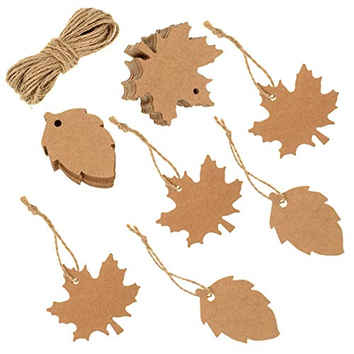 - VORRTE 100Pcs Thank You Gift Tags Favor Tags Kraft Paper Tags Maple Fall Leaves Shape for Thanksgiving,Christmas Day, with Natural Jute Twine for Autumn