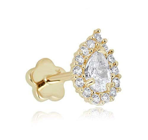 AVORA 14K Yellow Gold Pear-shaped Simulated Diamond CZ Frame Cartilage Barbell Body Jewelry -019 Gauge